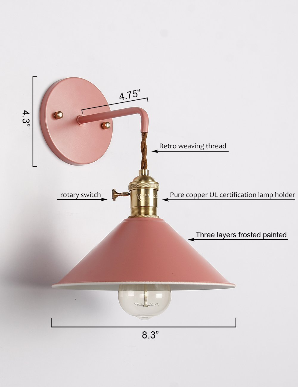 Image 3 - Modern Bedside wall lamp edison aisle sconce bedroom Read wall light Colorful bathroom E27 Pure copper holder light fixtures-in LED Indoor Wall Lamps from Lights & Lighting