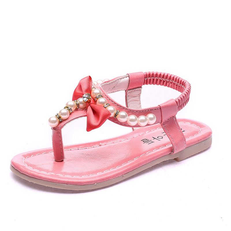 Bekamille Kids Shoes For Girls New Summer Sandals Children Pearl Beading Beach Sandals Enfants Flat With Shoe For Baby 21-36