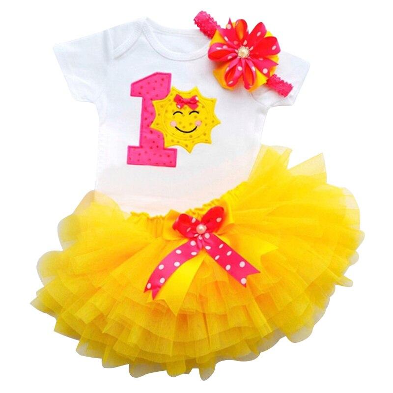 One Years Birthday Vestido Floral Bebe Toddler 1st Party Baptism Clothes Princess Dress Baby Tutu smash Cake Infant Girl Dresses
