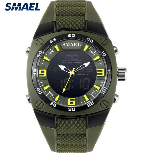 SMAEL Fashion Watches Men Led Sport Military Watch Dial Resistant Male Analog Double Time Army Green Quartz Digital Watches