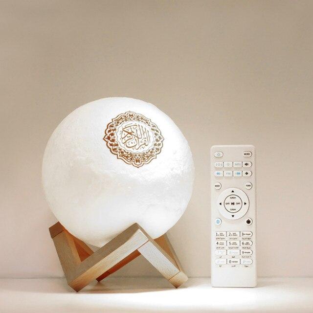 Koran lampa księżycowa bezprzewodowy głośnik Bluetooth dotykowy pilot zdalnego sterowania kolorowe diody LED lampka nocna Moonlight muzułmanin FM odtwarzacz muzyczny TF