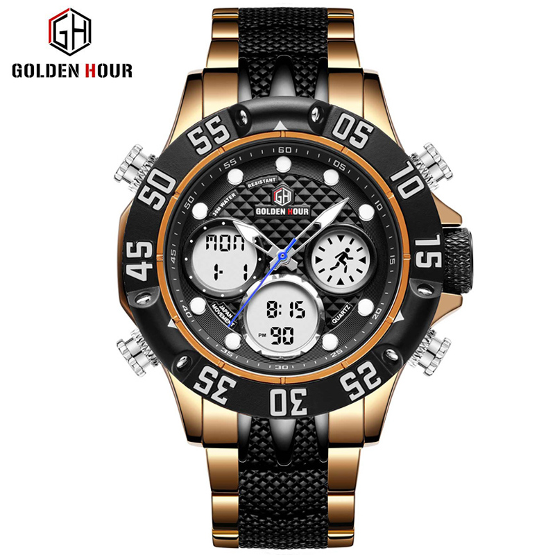 GOLDENHOUR Top Brand Men Military Sport Watch Men LED Analog Digital Watch Army Stainless Quartz Clock Relogio Masculino Gift