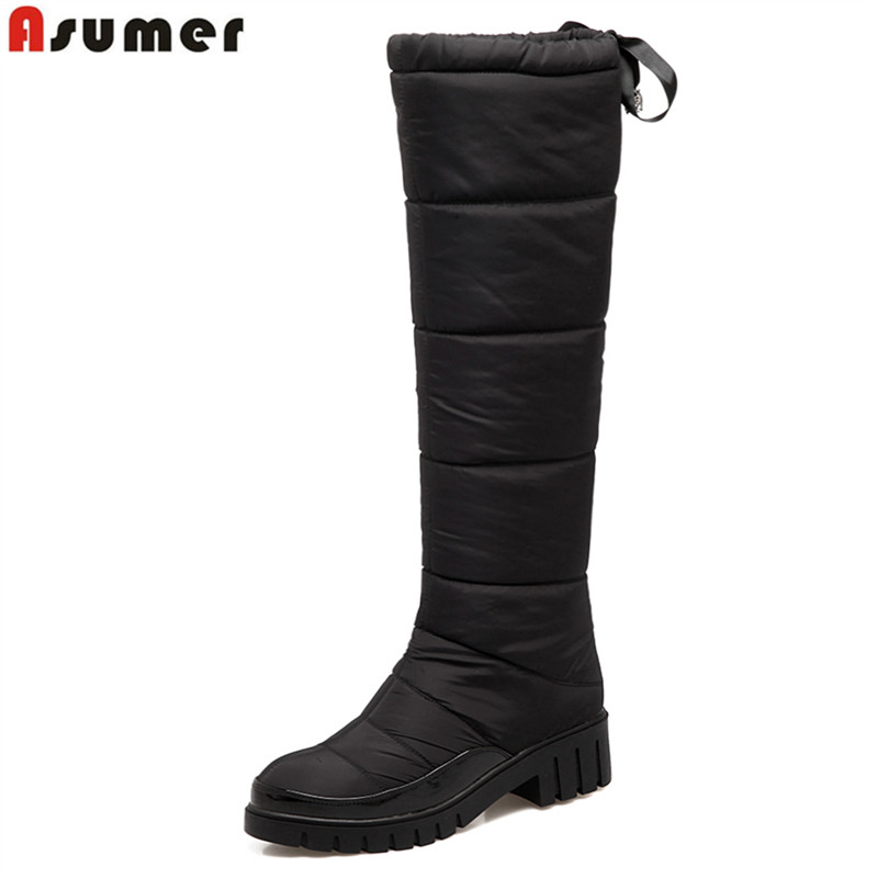 ASUMER 2018 New fashion warm down knee high boots square heel winter snow boots women shoes black red ladies waterproof shoes enmayer over the knee boots shoes new pu knitting square heel high boots warm snow long boots red brown black knight boots