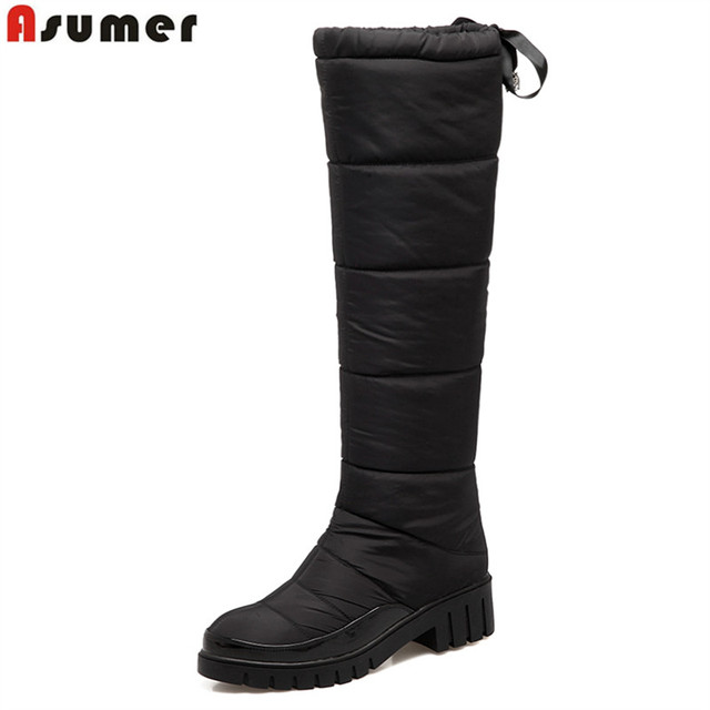 ASUMER 2018 New fashion warm down knee high boots square heel winter snow boots women shoes black red ladies waterproof shoes