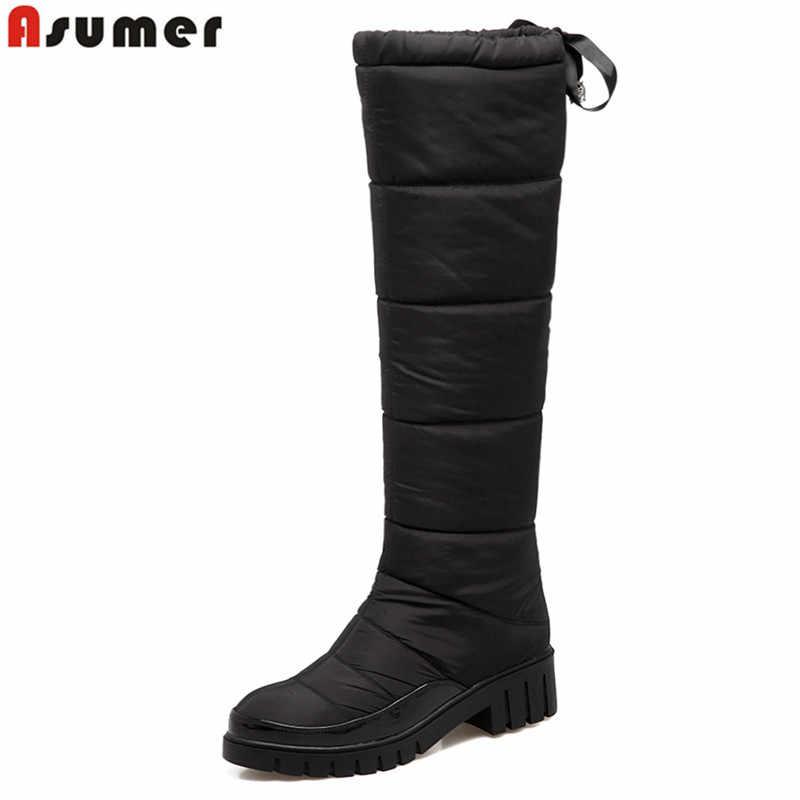 ASUMER 2020 Yeni moda sıcak aşağı diz yüksek çizmeler kare topuk kış kar çizmeler kadın ayakkabıları siyah kırmızı bayan su geçirmez ayakkabı