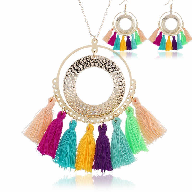 DIEZI  Bohemian Multicolor Tassel Necklace Earrings For Women Statement Fashion Jewelry Chokers Necklace Boho Chain Necklace