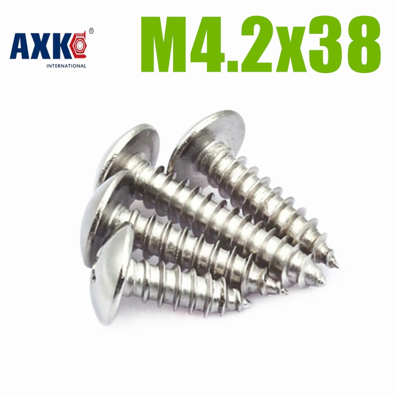 50pcs/lot Metric Thread M4.2x38 mm M4.2*38 mm 304 Stainless Steel Self tapping screws Pan Head Cap Screw Bolts M4.2x38 for acer aspire 4733z zq8b zq8c 4738g 4738zg founder r410 fan