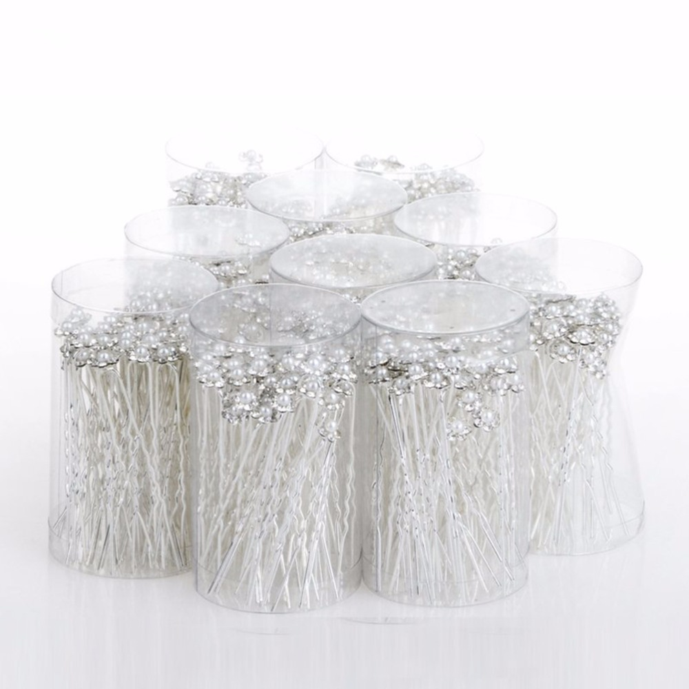 imixlot Wedding Hair Pins Simulated Pearl Flower Bridal Hairpins Bridesmaid Hair Clips Women Hair Jewelry Accessories 40 PCS
