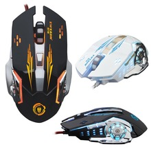 T50 Wired 2400DPI USB 6 Button Ergonomic Optical Gaming Mouse Gamer For PC Laptop Computer Soothing LED Backlit Game Mice 2017