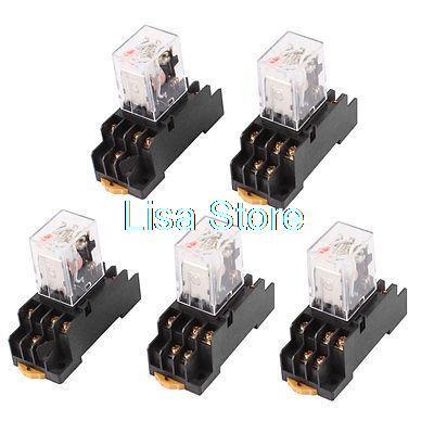 купить AC 220/240V Coil 3PDT 11 Pin Red LED General Purpose Power Relay 5 Pcs w Socket недорого