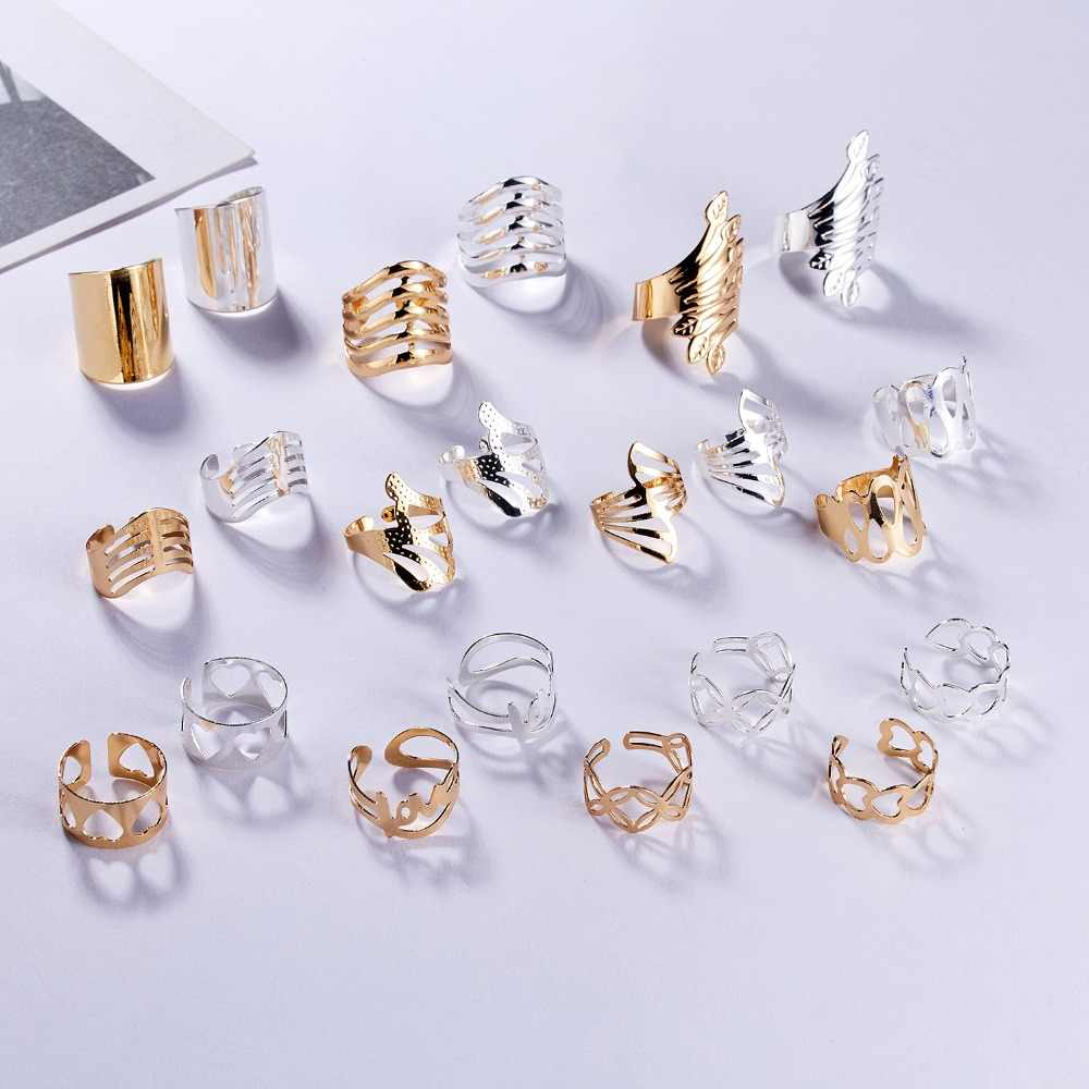 Antique Design Hollow Love Flower Leaf Cuff Rings Gold Silver Adjustable Opening Rings For Women Party Wedding Trendy Jewelry