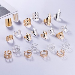 Antique Design Hollow Love Flower Leaf Cuff Rings Adjustable Opening Rings For Women Party Wedding Trendy Jewelry