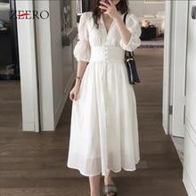 Французский романтический стиль белые платья летнее однобортное длинное платье с v-образным вырезом и пышными рукавами винтажное хлопковое платье с v-образным вырезом