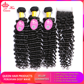 Queen Hair Products 100% Human Hair Bundles With Closure Deep Wave 4*4 Lace Closure Peruvian Remy Hair Free Shipping