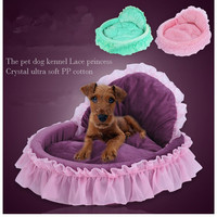 2017 Luxury Nest Mat Kennels Princess Dog Bed Soft For Small Dogs Pink Lace Puppy House