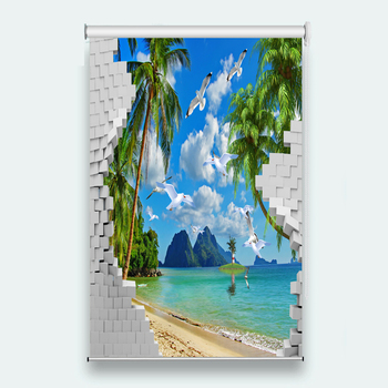 Customize 3d Roller Blinds Coco sea white dove For Living room Bedroom roller blinds for windows