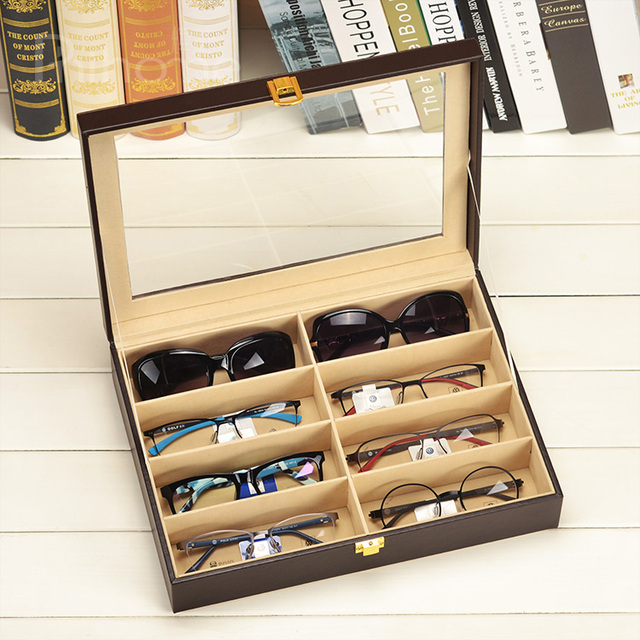 e16e3d98ddf Leather glasses storage box with opening window Sunglasses storage case  Multicellular glasses collection box