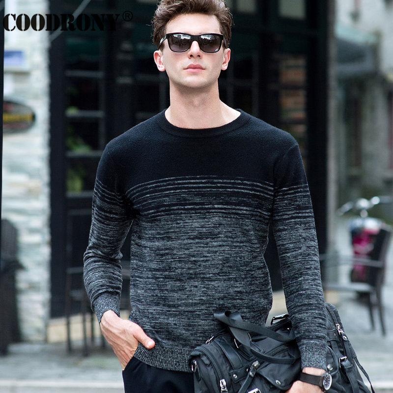 100% Merino Wool Sweater Men Winter Christmas Thick Warm Cashmere Sweaters Fashion Gradient Color Print O-Neck Pullover Men 6325