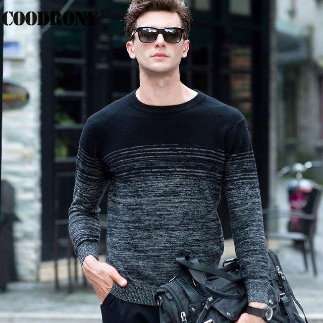 COODRONY 100% Merino Wolle Pullover Männer Winter Weihnachten Dicke Warme Kaschmir Pullover Mode Gradienten Druck Oansatz Pullover Homme