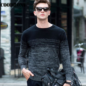 Image 1 - COODRONY 100% Merino Wool Sweater Men Winter Christmas Thick Warm Cashmere Sweaters Fashion Gradient Print O Neck Pullover Homme