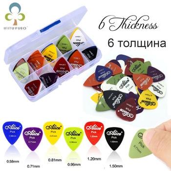 50 pçs/set Picareta Da Guitarra Picks Plectrum Acústico Música Elétrica 0.58/0.71/0.81/0.96/1.20/1.50mm Espessura Guitarra Acessórios GYH