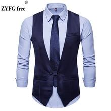 ZYFG Free Tops brand new mens suit vest slim fit Single buckle design men business casual style solid color Vest Large size