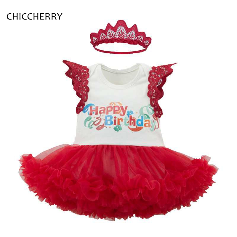 1 Year Happy Birthday Print Baby Girl Clothes Flare Sleeve Toddler Lace Romper Dress + Crown Headband Set Birthday Party Outfits crown princess 1 year girl birthday dress headband infant lace tutu set toddler party outfits vestido cotton baby girl clothes