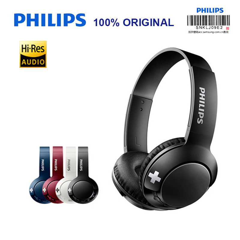 Original Philips BASS Wireless Headset SHB3075 Headband Volume Control with Bluetooth 4 1 Lithium Polymer for