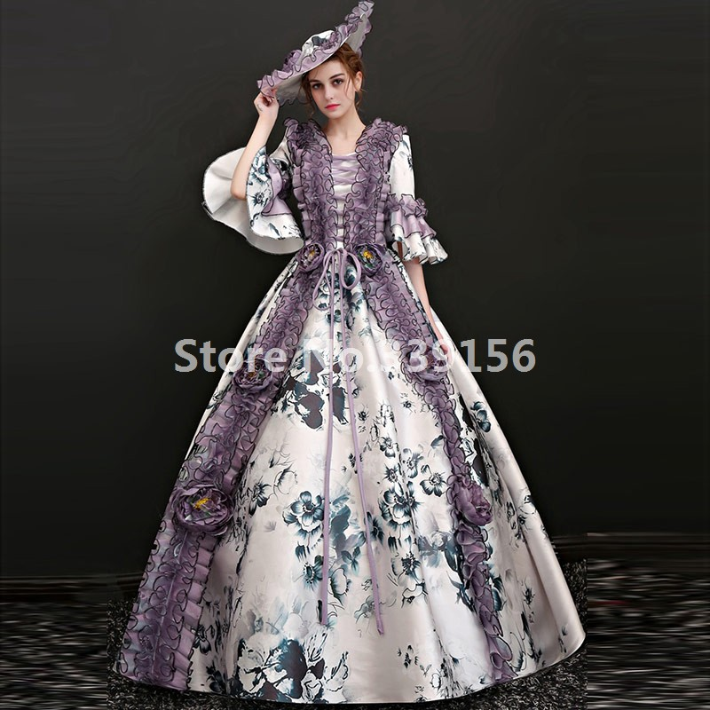 Marie Antoinette Queen Dresses Medieval Historical Ball Gowns ...