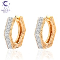 HanCheng New Fashion Luxury Golden Plated Round Gem Stone Zircon CZ Circle Big Hoop Earrings For Women Jewelry brincos bijoux
