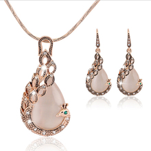 Redive jewelry Jewelry Set Filled Pink Crystal Circle Opal Crystal Peacock Necklace Earring Wedding jewellery Set for women