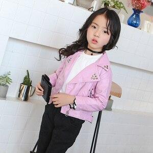 Image 3 - Meninas primavera outono jaqueta 2 7 anos de idade moda plutônio jaqueta lapela casaco rebites de metal motocicleta cinto de couro crianças jaquetas