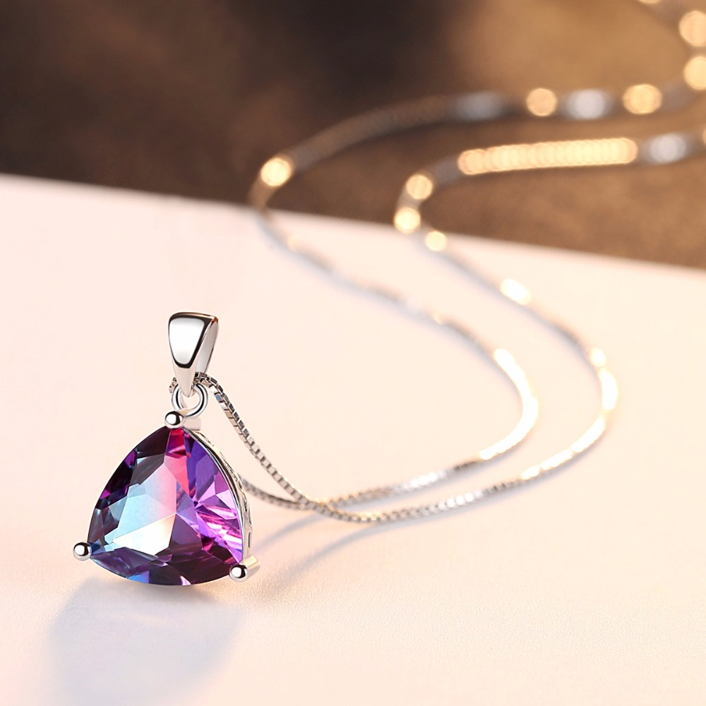 DR Triangle Oval Rainbow Fire Mystic Topaz Pendant Necklace 925 Sterling Silver Jewelry for Women Anniversary Party Gift in Necklaces from Jewelry Accessories