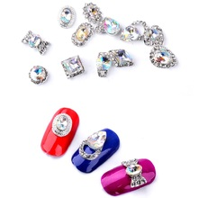 1 Wheel AB Color Nail Rhinestones Water drop Bow tie Round Square Design 3D Art Decorations Manicure Tool LRR