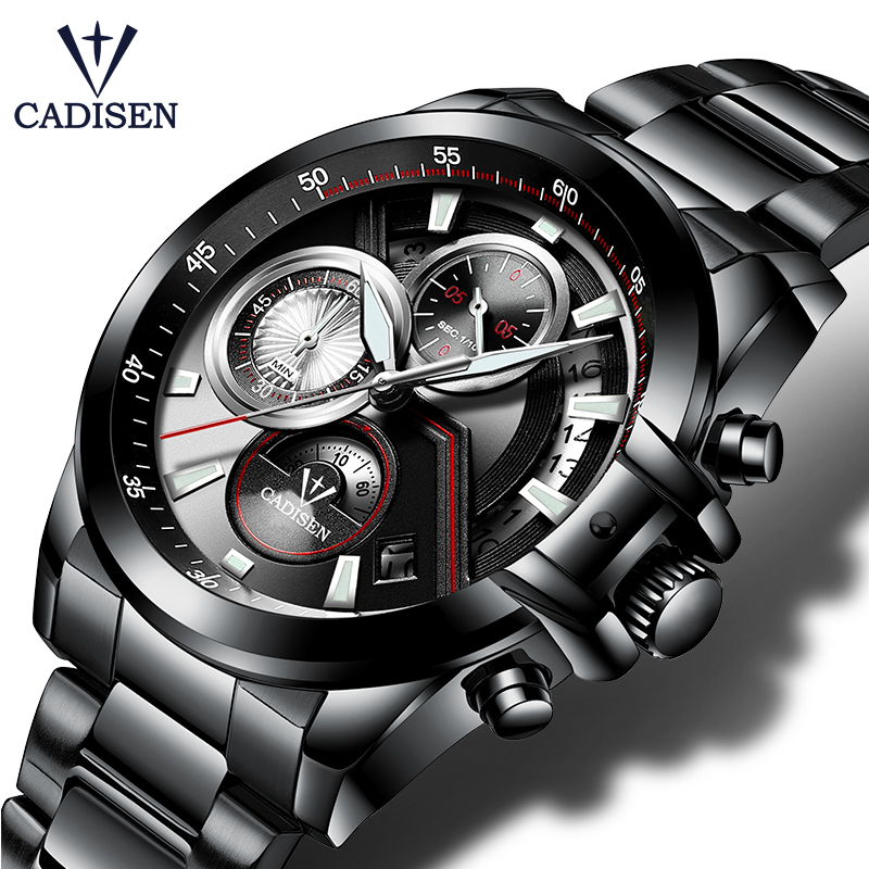 CADISEN 2018 Watch Lelaki Top Brand Luxury Military Army Tentera Sukan Kasual kalis air Mens Mens Quartz Stainless Steel Watches