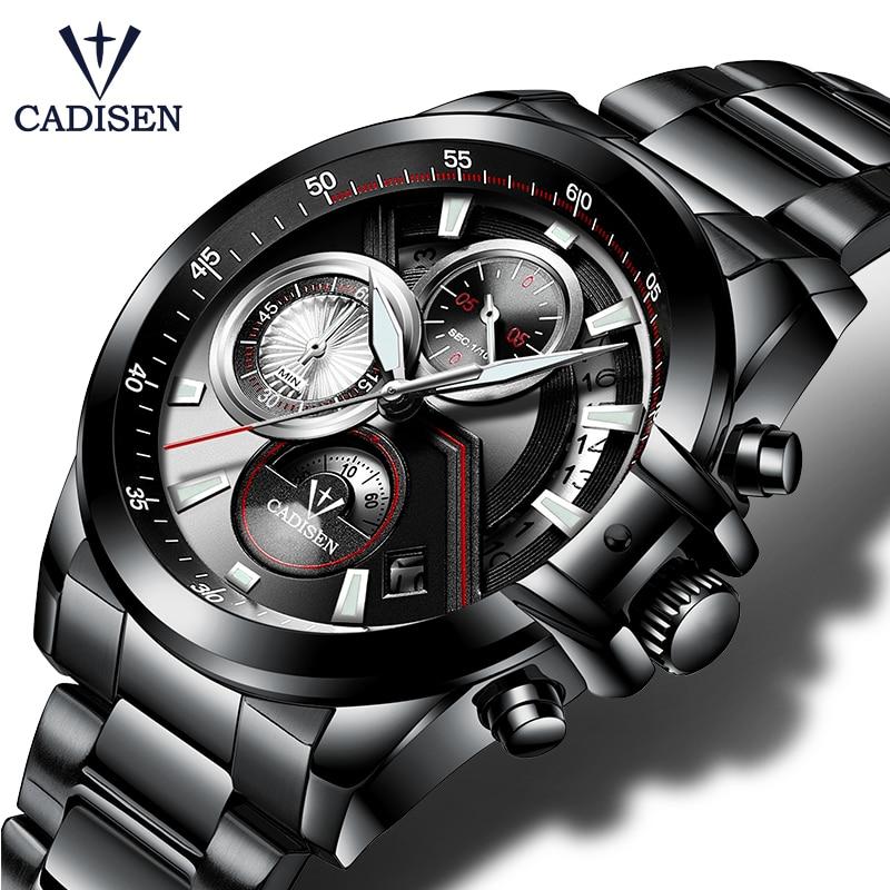 CADISEN 2018 reloj hombres Top marca de lujo militar deportes Casual impermeable relojes cuarzo de acero inoxidable reloj