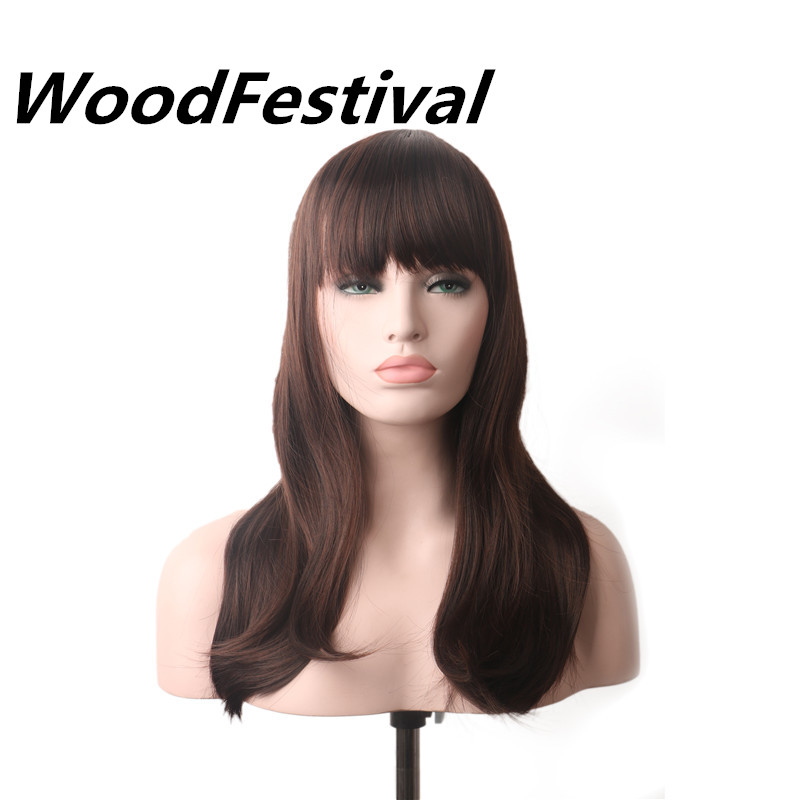 Real Picture Woodfestival Cosplay Hair Wig Black Brown Long Straight Wig Bangs Synthetic Wigs Women Heat Resistant Hair Extensions & Wigs Synthetic None-lacewigs