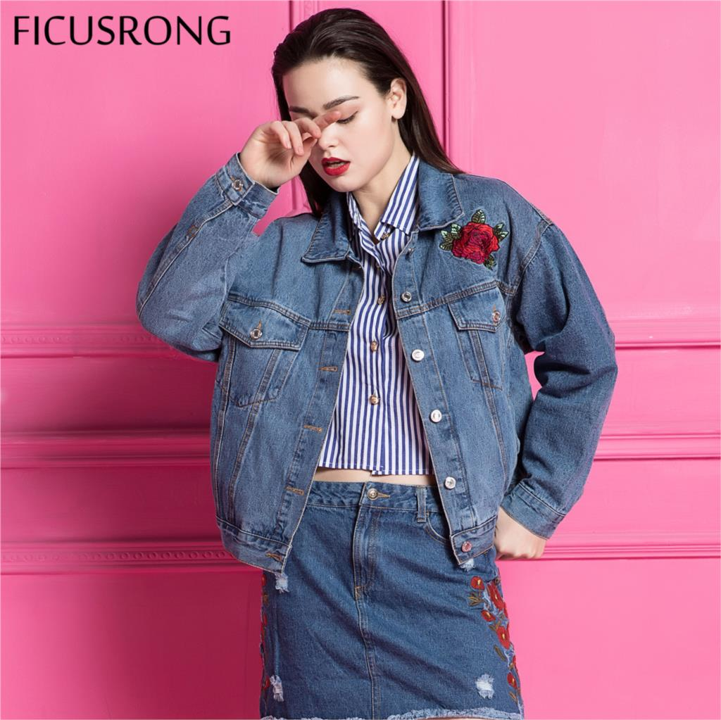 2019 New Spring Autumn Ladies Fashion Denim   Jacket   Jeans Outerwear Female   Basic     Jackets   Coats Animal Embroidery Women FICUSRONG