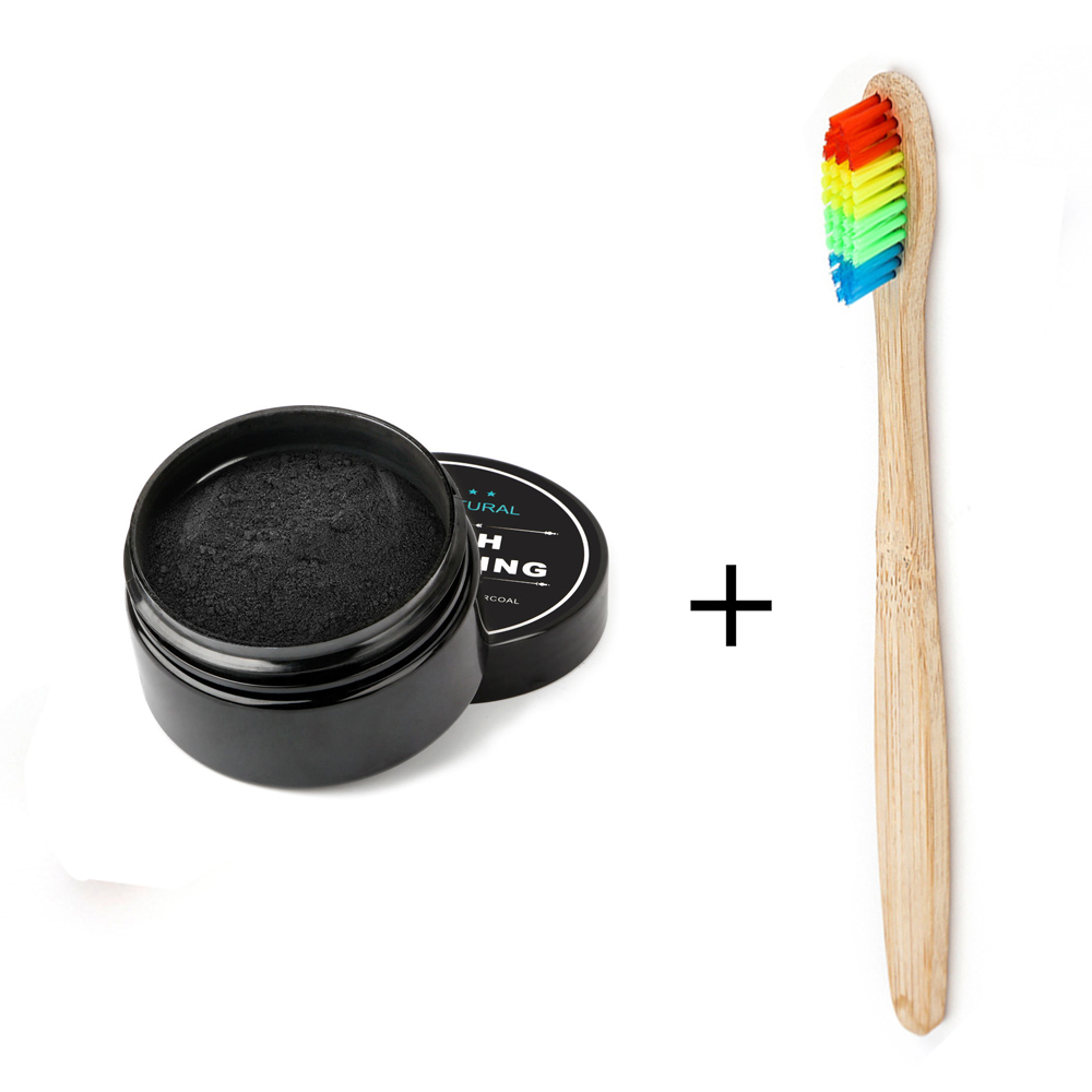 Teeth Whitening Bamboo Charcoal Powder Bamboo Toothbrush Set Tooth Whitening Pure Natural Activated Carbon Oral Hygiene 30g