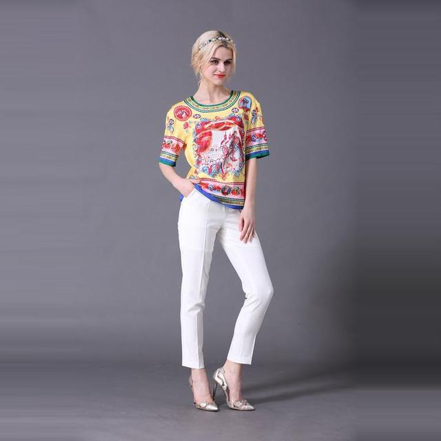 Xxxl! Лучший класс новый роскошный комплект одежды 2016 лето женщины распечатать блуза + белые брюки брюки ( 1 компл. ) 2 шт. свободного покроя брючный костюм