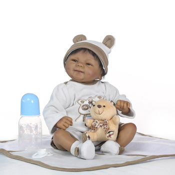 Black baby dolls pop African 18inch bebe reborn silicone vinyl 40cm newborn poupee boneca baby