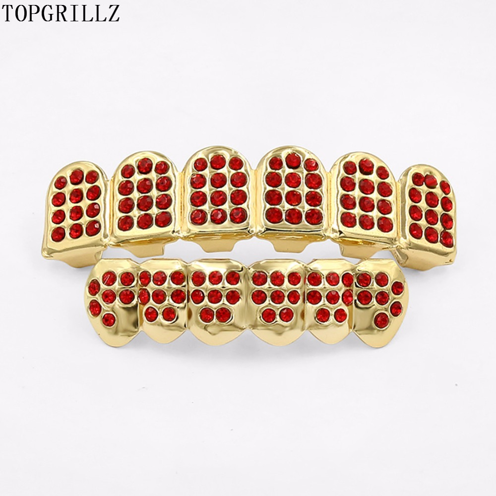 TOPGRILLZ Gold Color Plated Hip Hop Teeth GRILLZ ICED OUT