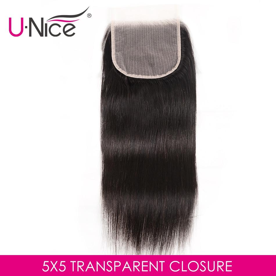 Unice Transparent Lace Human-Hair Pre-Plucked Brazilian Natural-Color Black