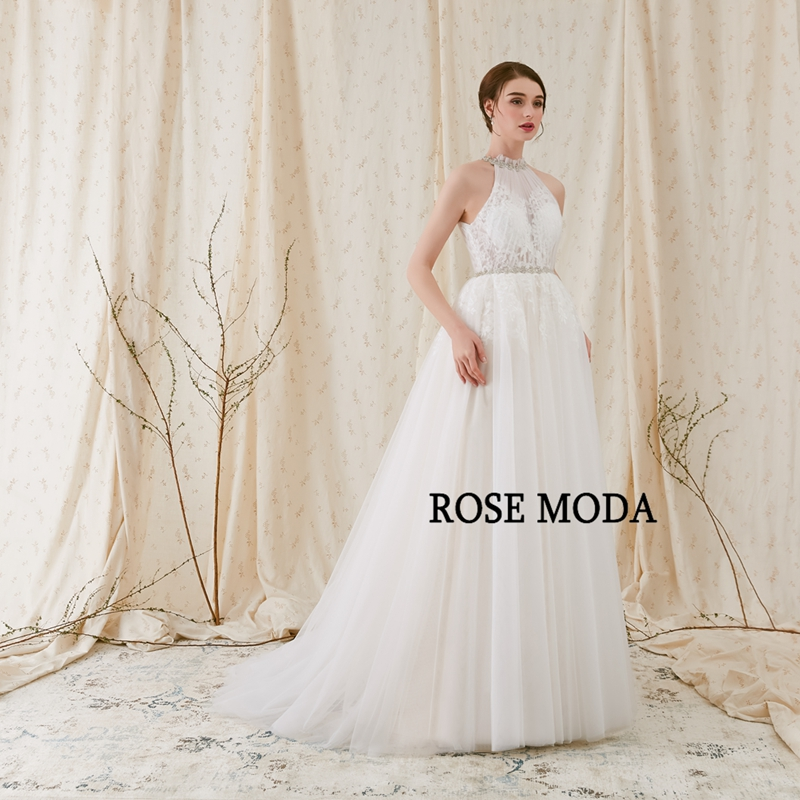 Rose Moda Crystal Halter Tulle Boho Wedding Dress Lace Destination ...