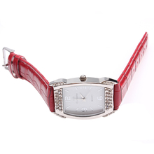 Women's Leather Quartz Watch Red Leather Strap With Rhinestone For Ladies Wrist Watch
