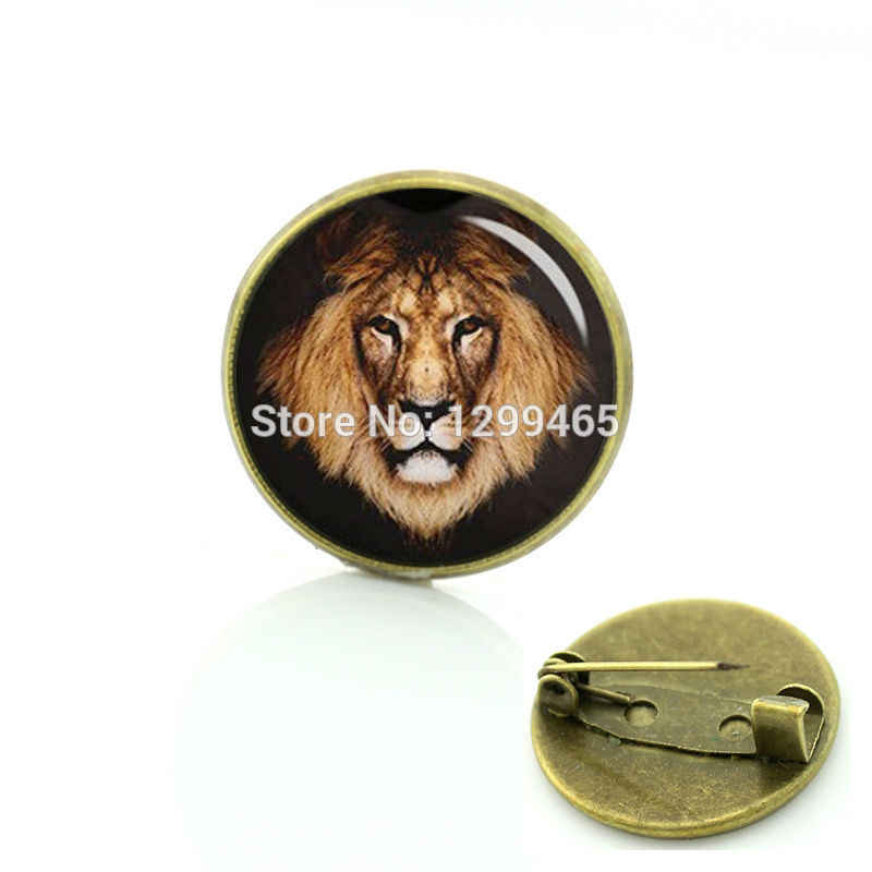 TAFREE  Lion brooches pin wild animal male lion tiger hippo dinosaur sloth rhino shark silhouette badge Men women jewelry T717