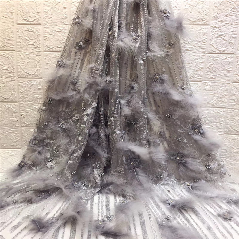 2018 Latest handmade lace feather fabric French Nigerian Laces Fabric High Quality Tulle African Laces Fabric Wedding 5 yards