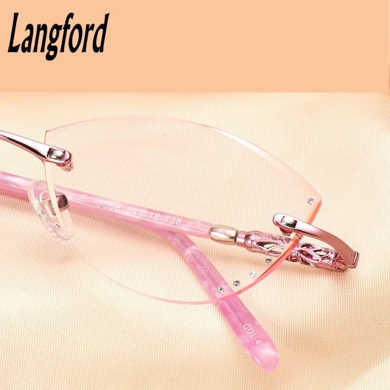 Cat eye glasses frame women frameless glasses Optics Diamond cutting high-end prescription glasses Finished product glasses