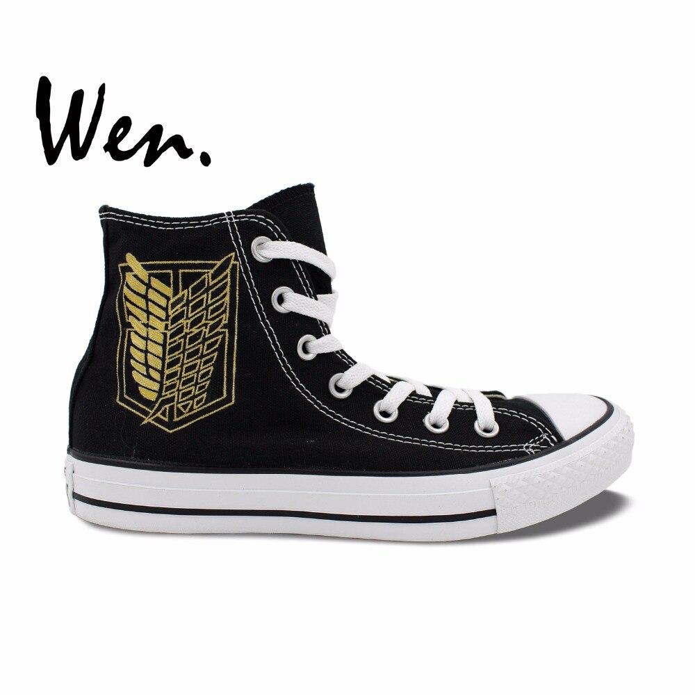 логотип атака - Wen Design Custom Anime Hand Painted Sneakers Logo Attack on Titan Survey Corps Men Womens Black High Top Canvas Shoes