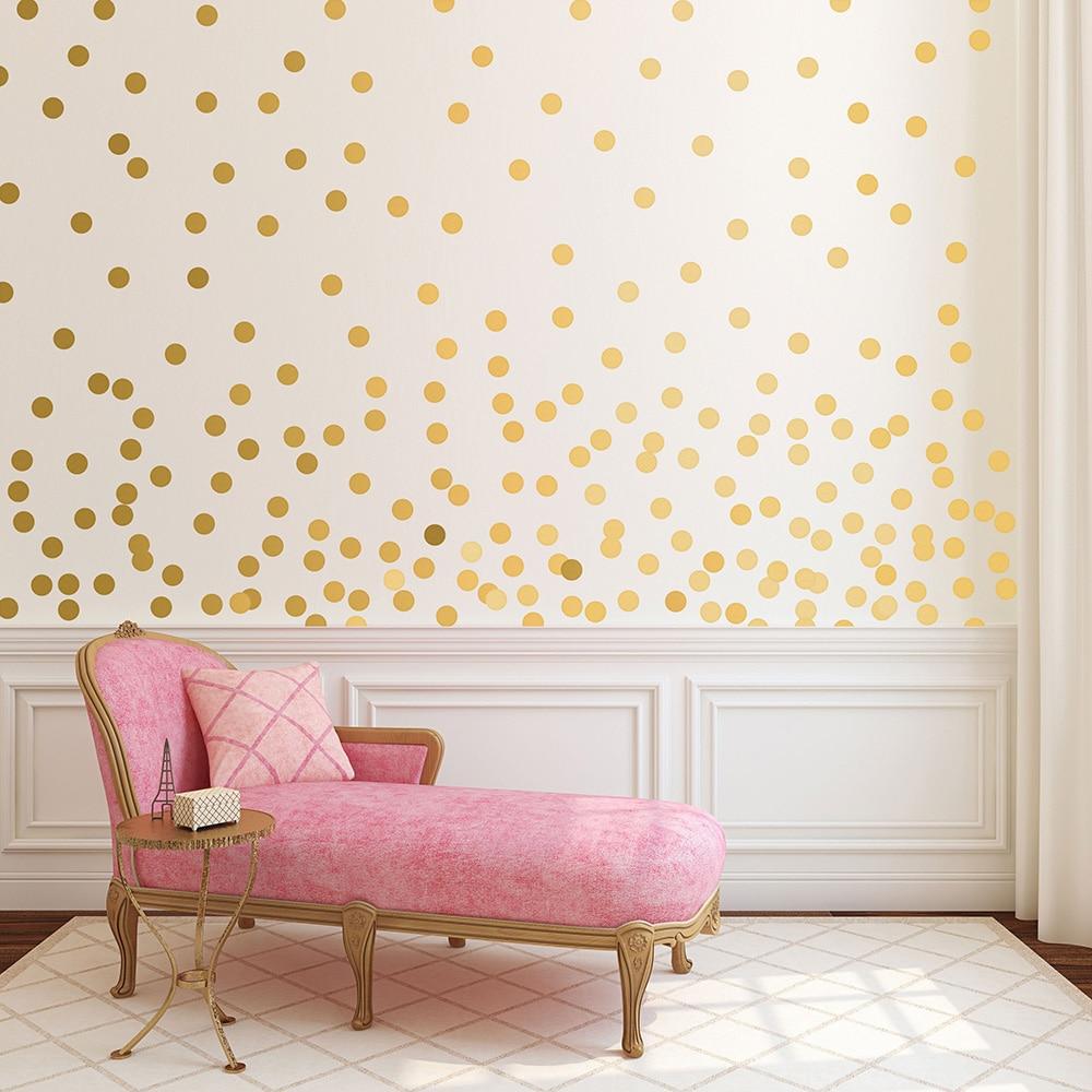Gold Polka Dots Wall Sticker Baby Nursery Kids Room Cartoon Decal Bedroom Living Vinyl Art Mural Decor